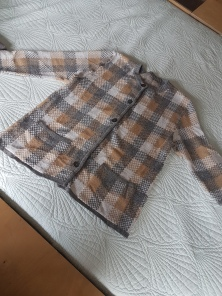 ITEM Checked cardigan SIZE unknown DESIGNER unknown (tag cut out MATERIAL unknown (purchased as well) CONDITION Good (one button missing)