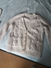 ITEM Cable knit cardigan SIZE unknown (large) DESIGNER no tag (possibly home made) MATERIAL wool CONDITION Very good
